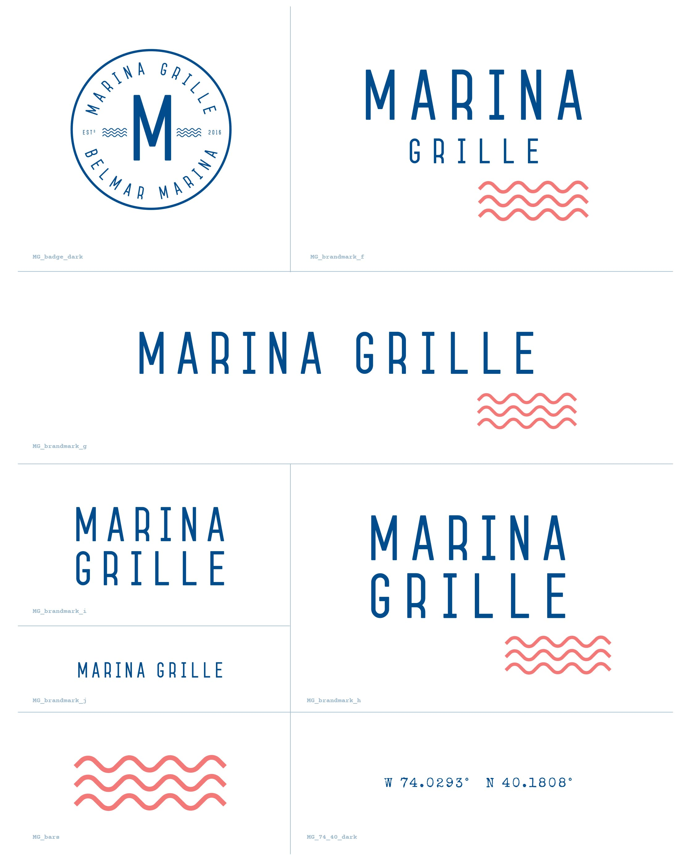 Marina Grille logo sheet